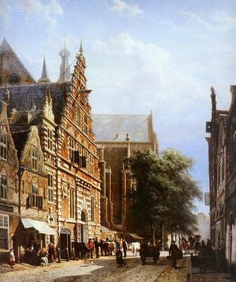 Springer Cornelis Vleeschhal and Grote Kerk in Haarlem Sun