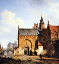 Springer Cornelis Fantasy cityview of Maassluis Sun