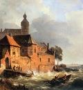 Springer Cornelis Men in boat at choppy sea Sun