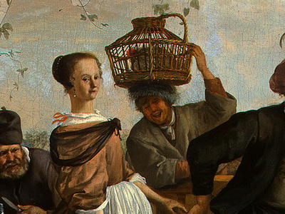 STEEN,J  THE DANCING COUPLE, DETALJ 10, 1663, NGW