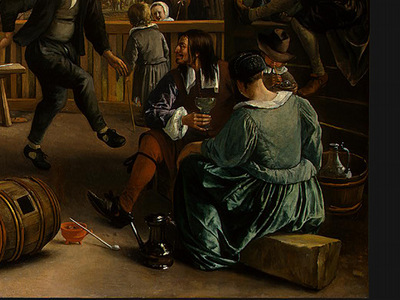 STEEN,J  THE DANCING COUPLE, DETALJ 15, 1663, NGW