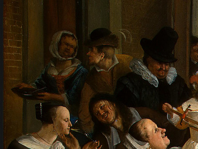 STEEN,J  THE DANCING COUPLE, DETALJ 2, 1663, NGW