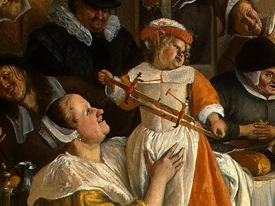 STEEN,J  THE DANCING COUPLE, DETALJ 4, 1663, NGW