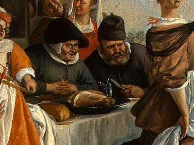 STEEN,J  THE DANCING COUPLE, DETALJ 6, 1663, NGW