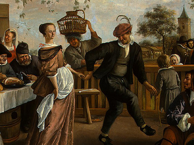 STEEN,J  THE DANCING COUPLE, DETALJ 9, 1663, NGW
