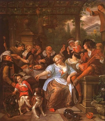 Steen Merry Company on a Terrace, oil on canvas, Metropolita