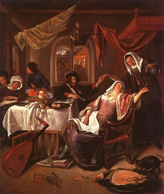 Steen The Dissolute Household, oil on canvas, Metropolitan M