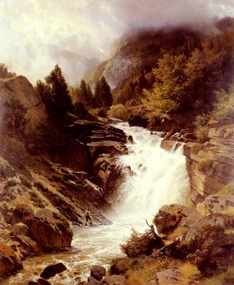 Steffan Johann Gotterfried A Waterfall In The Bavarian Alps