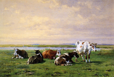 Stortenbeker Pieter Meadow landscape with cows Sun
