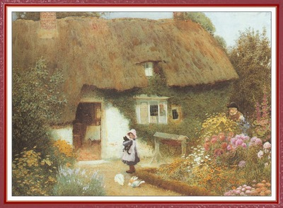 StrachanArthurClaude GirlAndKittenBeforeCottage We f047