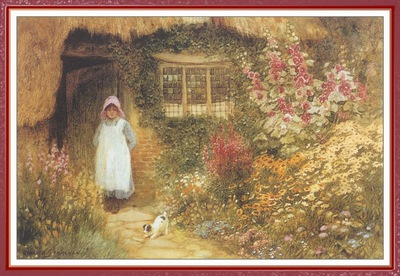 StrachanArthurClaude GirlWithDogOutsideCottage We f038