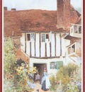 StrachanArthurClaude GirlAndCatOutsideCottage We f053