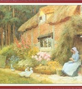 StrachanArthurClaude WomanOutsideCottageWithDucks We f029