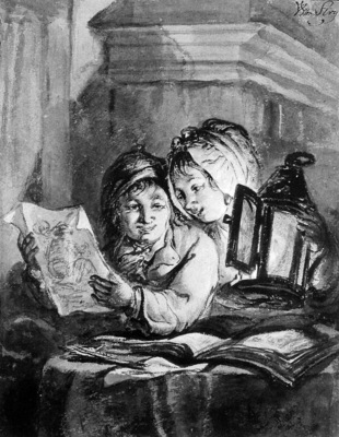 Strij van Abraham Boy and girl looking at drawings Sun