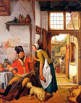 Strij van Abraham Interior with soldier and maid
