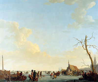 Strij van Abraham Merriment on frozen river Sun