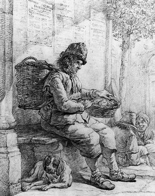 Strij van Abraham Sitting man with basket Sun