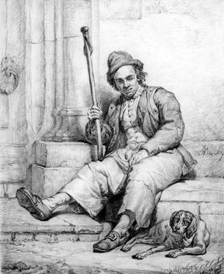 Strij van Abraham Sitting man with dog Sun