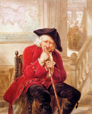 Strij van Abraham Sitting old man waiting in hall Sun