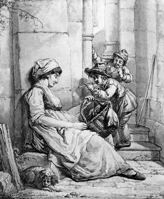 Strij van Abraham Sleeping woman teased by two boys Sun