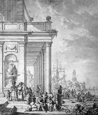Strij van Abraham View on mediterrian port Sun
