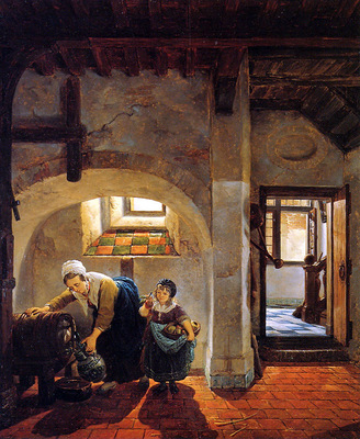 Strij van Abraham Woman and child in basement