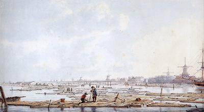 Strij van Abraham Wooden rafts pm the Biesbosch Sun