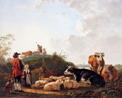 Strij van Jacob Herdsman with resting cattle Sun