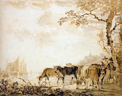 Strij van Jacob Landscape with cows Sun