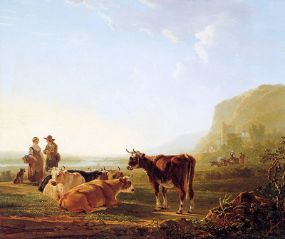 Strij van Jacob Landscape with resting cows Sun