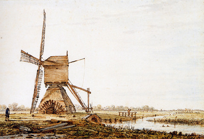 Strij van Jacob Landscape with watermill Sun
