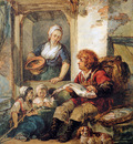 Strij van Abraham Fish salesman at woman and chidren Sun
