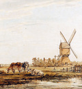 Strij van Jacob Landscape with mill and cattle Sun