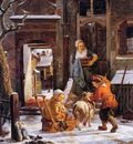 Strij van Jacob Winter city view with children Sun