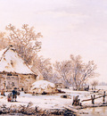 Strij van Jacob Winterlandscape with farm Sun