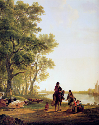 Strij Jacob Italian landscape with travellers by the side of