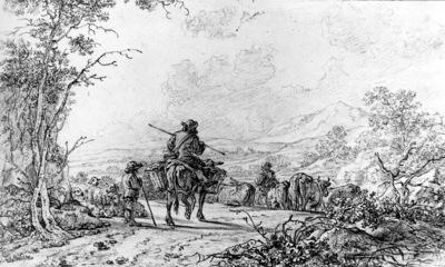Strij van Abraham Herdsmen in landscape Sun