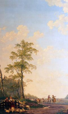 Strij van Abraham Landscape with horsemen Sun