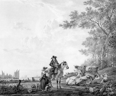 Strij van Jacob Landscape with horseman and maid