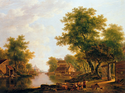 Strij van Jacob Landscape with river near Dordrecht Sun