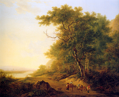 Strij van Jacob Mountainous landscape with travellers Sun
