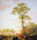 Strij van Jacob Dutch landscape with cattle and farm Sun