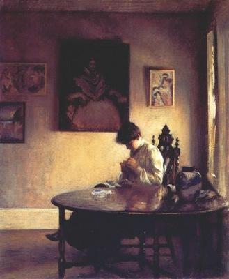 tarbell girl crocheting