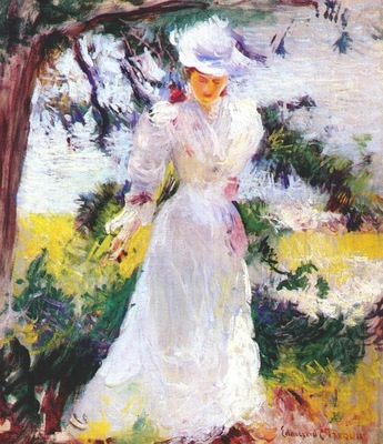tarbell my wife emeline in a garden c1890