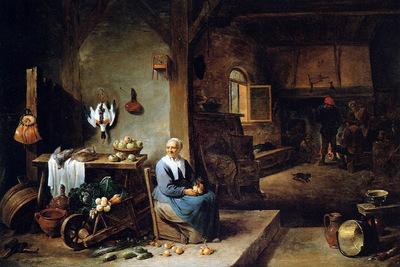 Teniers David Interior of a peasant dwelling Sun