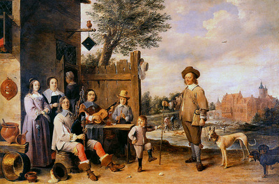 Teniers David Landscape with a family Sun