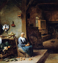 Teniers David Interior of a peasant dwelling Sun