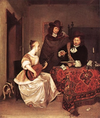 A Young Woman Playing a Theorbo to Two Men WGA