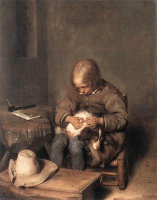 Boy Ridding his Dog of Fleas WGA