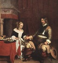 Man Offering a Woman Coins WGA